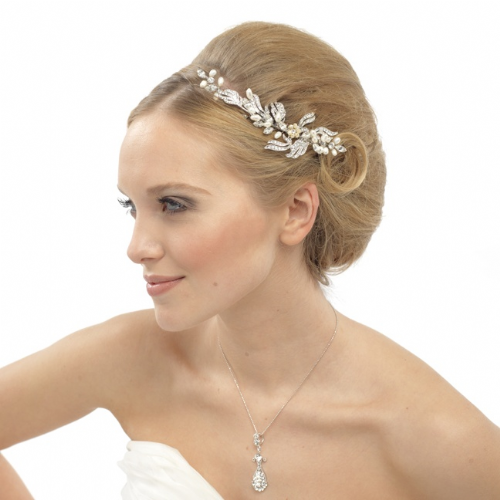 Belle Crystal and Pearl Bridal Hair Comb, Wedding Hair comb